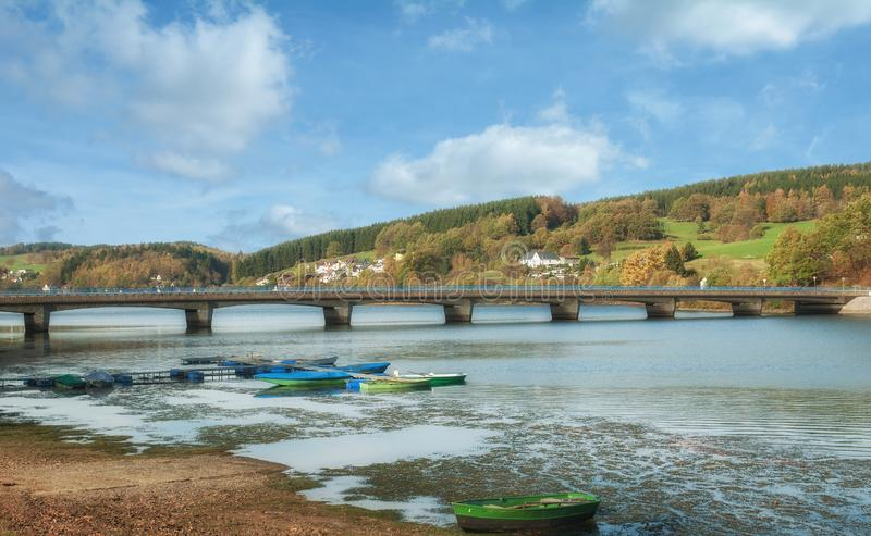 Autumn at Listertalsperre Reservoir,Sauerland,Germany royalty free stock image