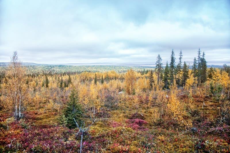 Autumn Landscape Mening van de berg aan het meer Piaozero stock foto