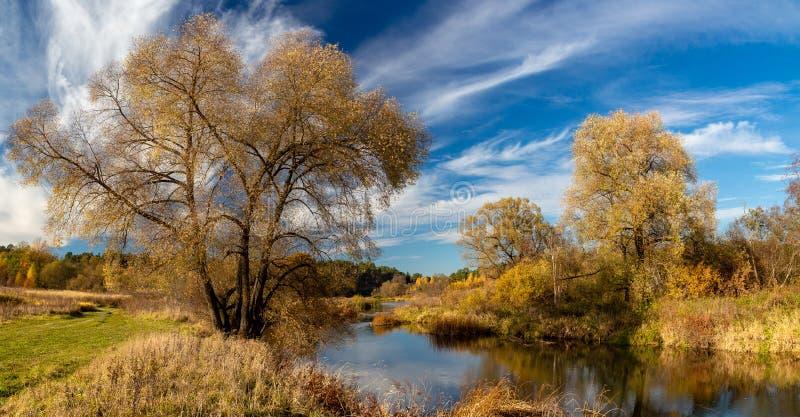 Autumn Landscape Mening van de rivier en het de herfstbos royalty-vrije stock foto's