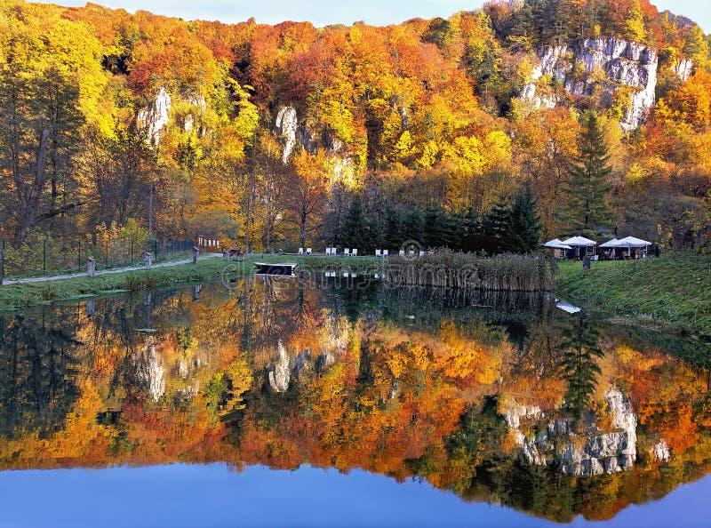 Autumn Landscape Mooie de herfst bosbezinning in het water Ojcowski Nationaal Park polen royalty-vrije stock afbeeldingen
