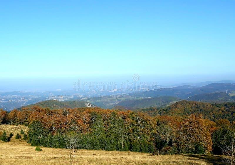 Autumn landscape on the mountain stock photos
