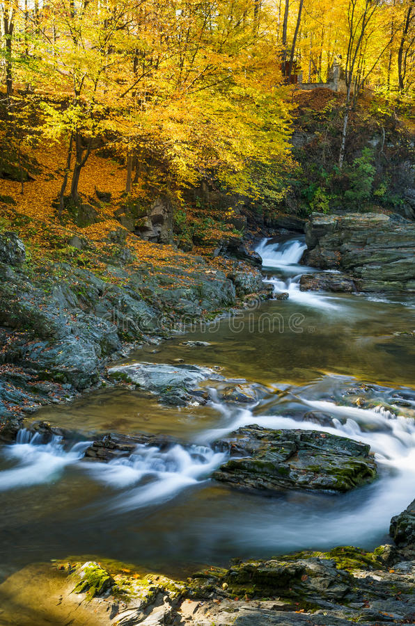 Autumn Landscape with a mountain river and waterfalls stock images