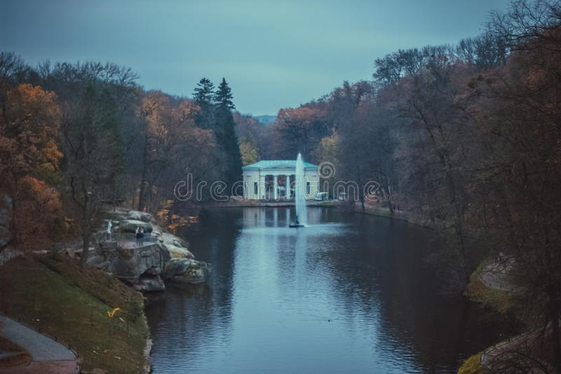 Autumn landscape in the national park Sofiivka, Uman, Ukraine. The most beautiful plases of Europe stock photography