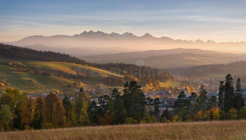 Autumn Landscape Of Poland Tatra Mountains. Beautiful View Of High Tatras And Picturesque Sunny Valley. Polish Rural Landscape Wit. H Tatry Mountain At Sunset stock image