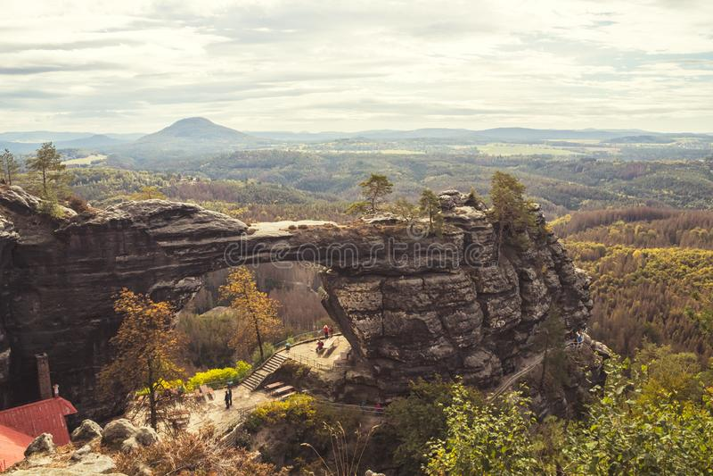 Autumn landscape - Pravcicka brana Prebischtor - a narrow rock formation in Bohemian Switzerland stock photos