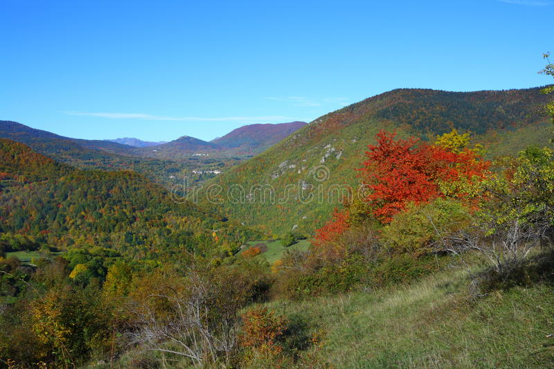 Autumn landscape in Pyrenees, France stock photos
