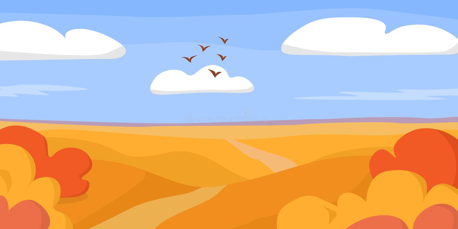 Autumn landscape with red and yellow bushes on hills with the road under the blue sky with the clouds royalty free illustration