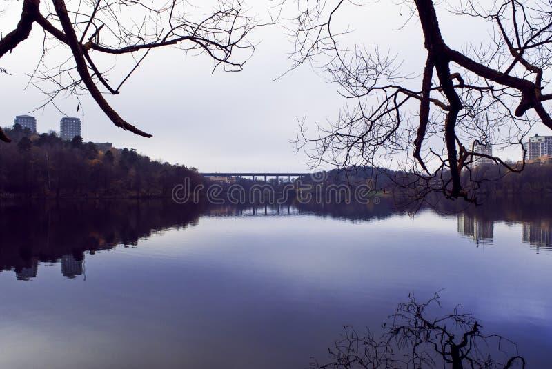 Autumn landscape reflection stock images