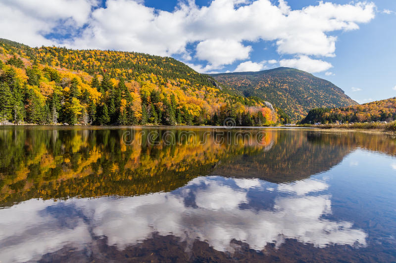 Autumn landscape and reflection in White mountain National forest, New Hampshire royalty free stock images