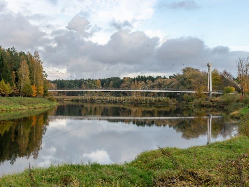 Autumn landscape with river, bridge and beautiful colorful trees, river Gauja, Valmiera, Latvia. Beautiful autumn landscape with river, bridge and beautiful stock image