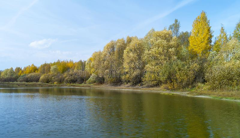 Autumn landscape with river at autumn length of time royalty free stock photography