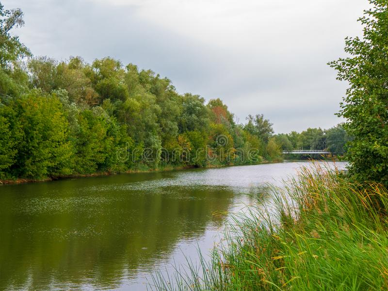 Autumn landscape of river and trees. Riverside landscape. Autumn landscape of river and trees. Riverside landscape royalty free stock photography