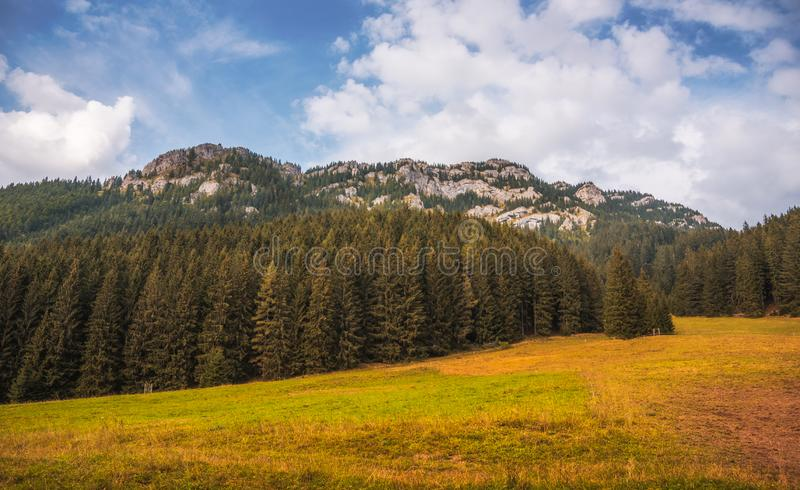 Autumn Landscape with Rocky Hill. Autumn Landscape with Forest and Rocky Ohniste Hill in Slovakia stock image