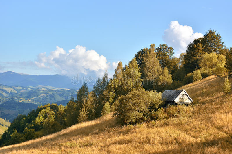 The Autumn landscape in the Romanian Carpathians stock photography
