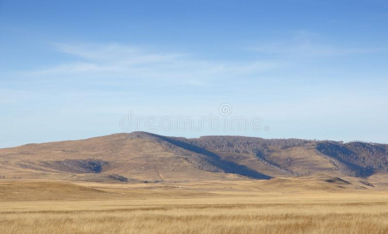 Autumn landscape with smooth hills covered with dry yellow grass under blue sky. In Khakassia, Russia stock images