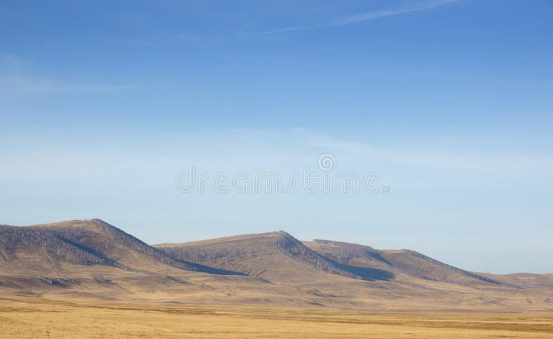 Autumn landscape with smooth hills covered with dry yellow grass under blue sky. In Khakassia, Russia royalty free stock images