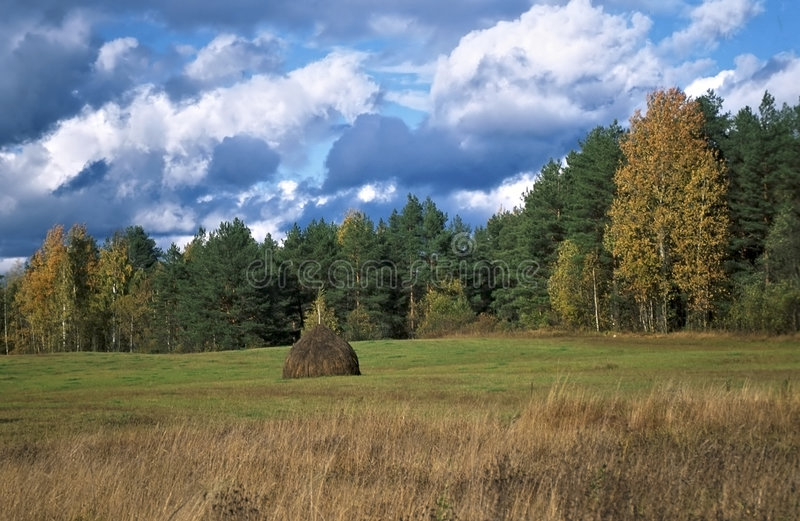 Autumn landscape with stack, sky and clouds royalty free stock photography