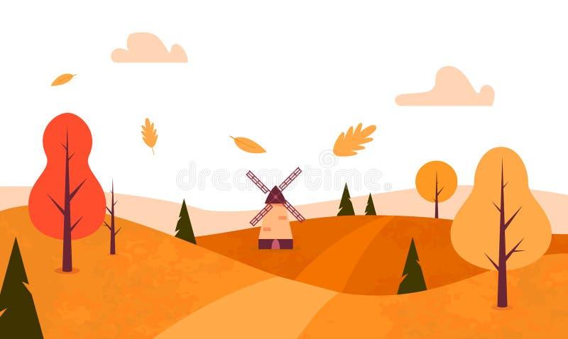 Autumn Landscape Stile piano Alberi di caduta, foglie, mulino a vento Vettore illustrazione vettoriale