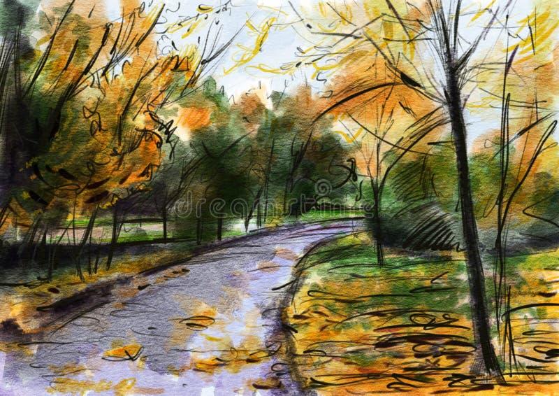 Autumn Landscape Tiragem na aquarela e no lápis da cor ilustração royalty free