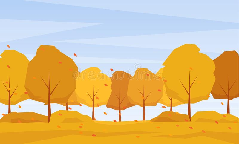 Autumn landscape with trees and fall leaves on the wind. Vector illustration: Autumn landscape with trees and fall leaves on the wind royalty free illustration