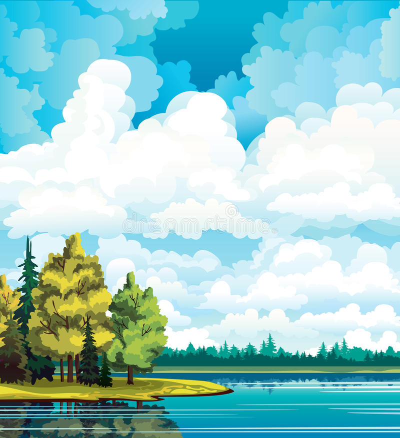 Autumn landscape with trees, lake, forest and clouds stock illustration