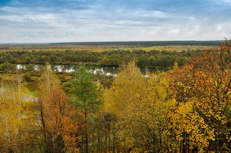 Autumn landscape: trees with yellow leaves grow on the banks of a cold autumn river amid dark skies royalty free stock photography