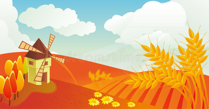 Download Autumn landscape in vector stock vector. Image of mill - 22698678