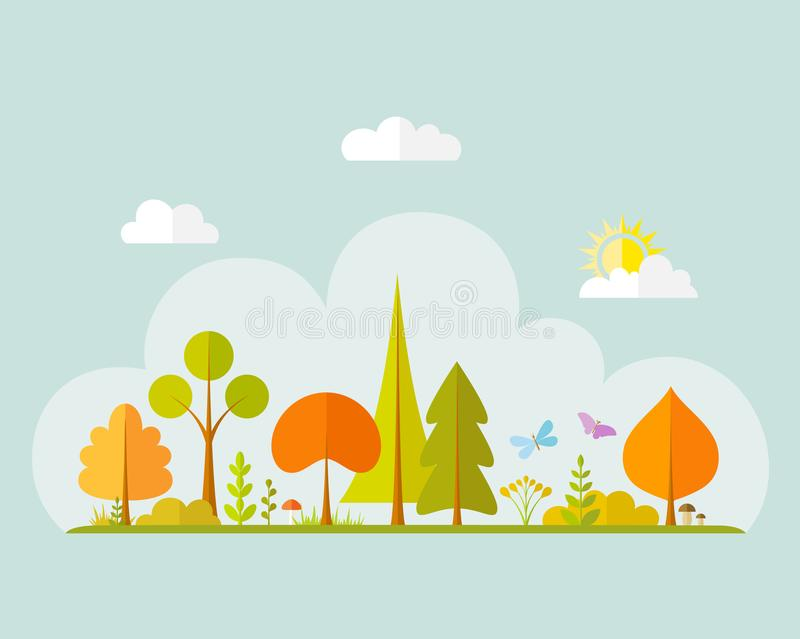 Autumn landscape. Vector illustration. Banner with autumn forest in a flat style. royalty free illustration