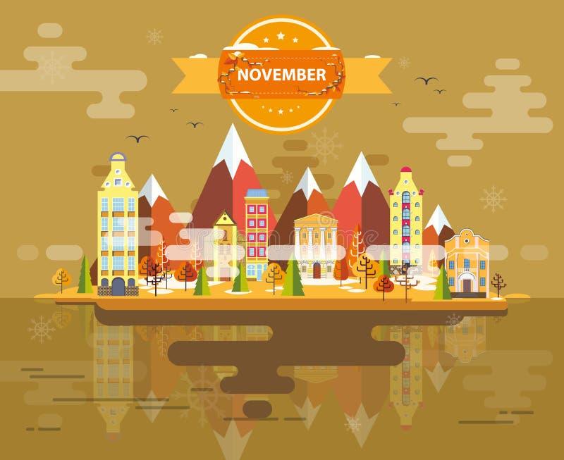 Autumn Landscape Vista dalla cima royalty illustrazione gratis