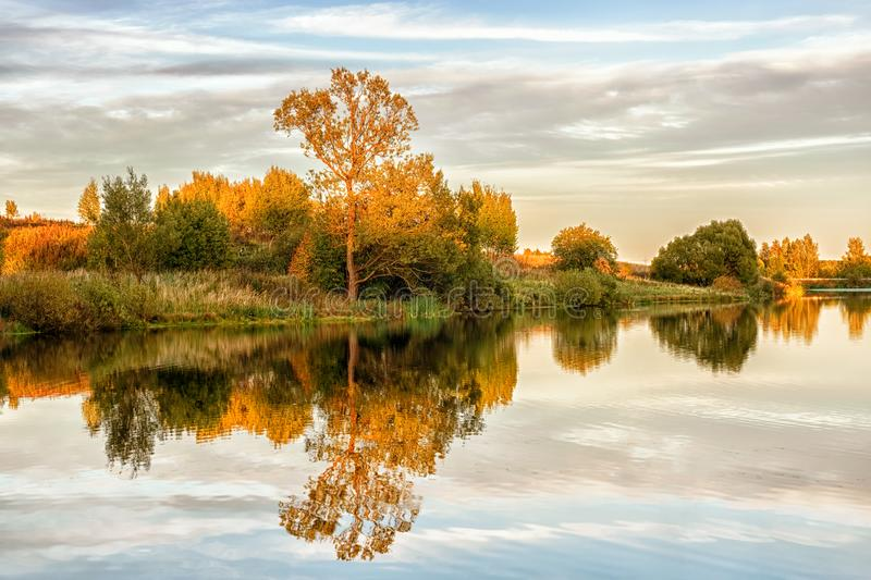 Autumn landscape with water, colorful trees stock images