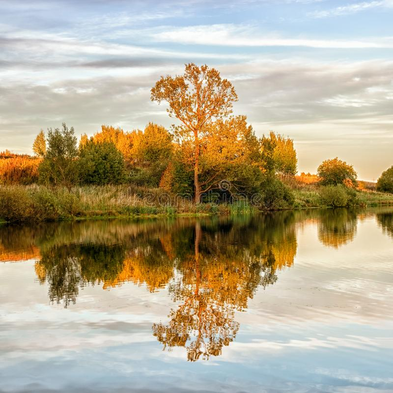 Autumn landscape with water, colorful trees stock photos