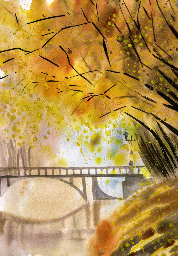 Autumn landscape watercolor painting stock photo