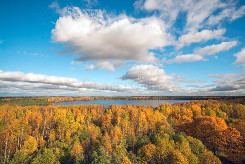 Autumn Landscape Wolken über dem See mit gelben Bäumen stockbilder