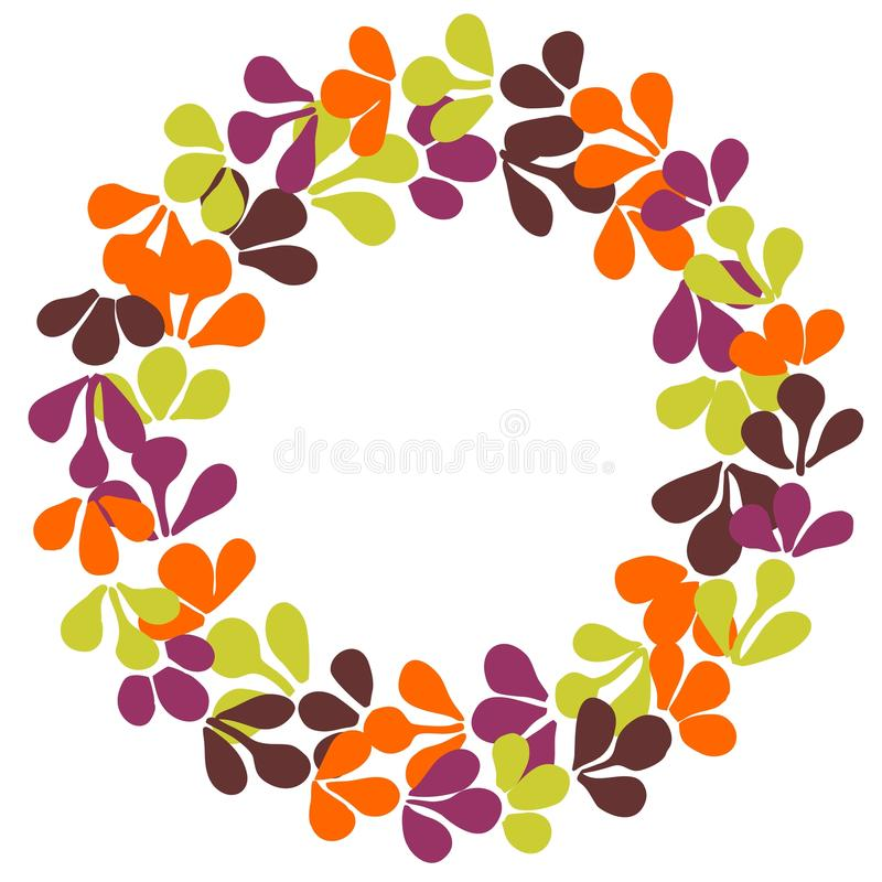 Autumn wreath vector frame isolated on white background stock illustration