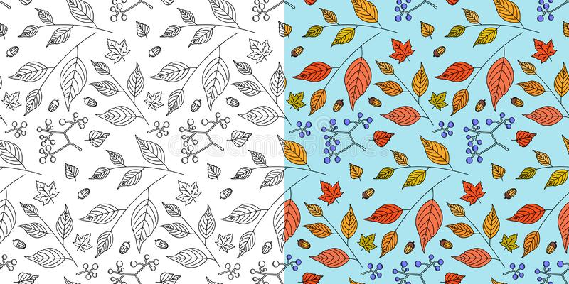 Autumn leaf pattern. Fall leaves seamless pattern. Seasonal background with leaf texture. Vector. Autumn leaf seamless pattern. Fall leaves texture. Seasonal royalty free illustration