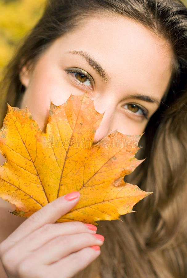 Download Autumn leaf peek-a-boo. stock image. Image of brunette - 18465473