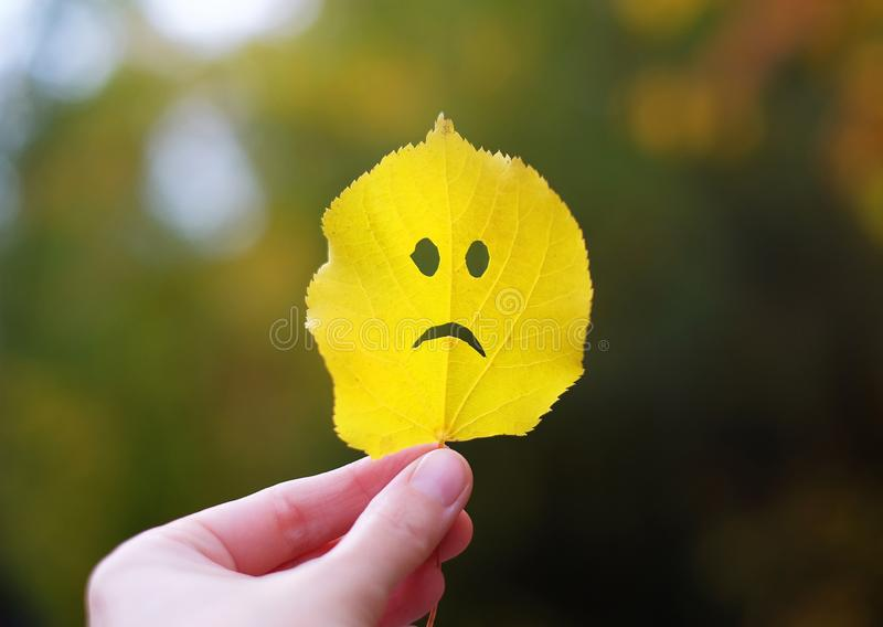 Autumn leaf sad face in a hand.  royalty free stock photos
