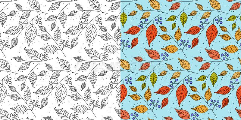 Autumn leaf pattern. Fall leaves seamless pattern. Seasonal background with leaf texture. Vector. Autumn leaf seamless pattern. Fall leaves texture. Seasonal stock illustration