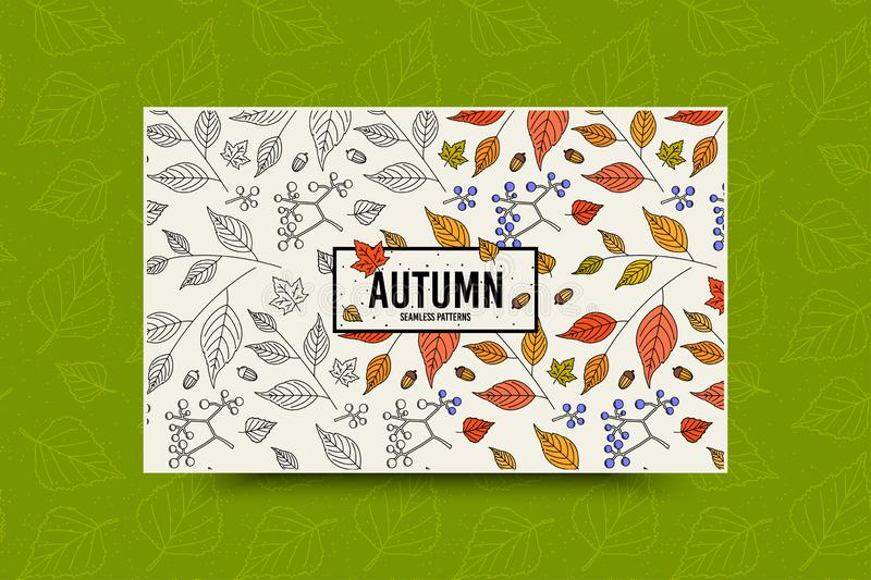 Autumn leaf pattern. Fall leaves seamless pattern. Seasonal web banner template with leaf texture. Vector vector illustration