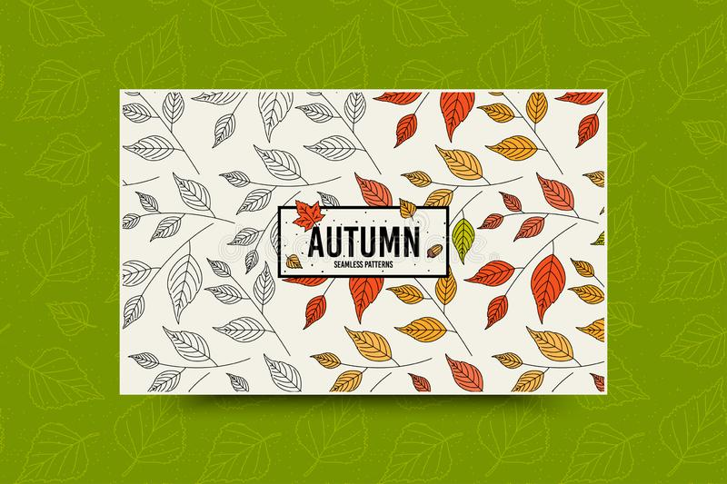 Autumn leaf pattern. Fall leaves seamless pattern. Seasonal web banner template with leaf texture. Vector stock illustration