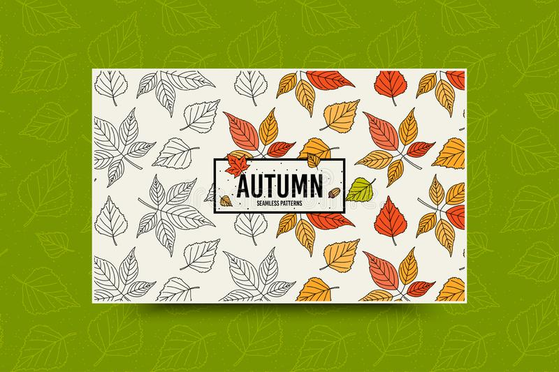 Autumn leaf pattern. Fall leaves seamless pattern. Seasonal web banner template with leaf texture. Vector. Autumn leaf seamless pattern. Fall leaves texture royalty free illustration
