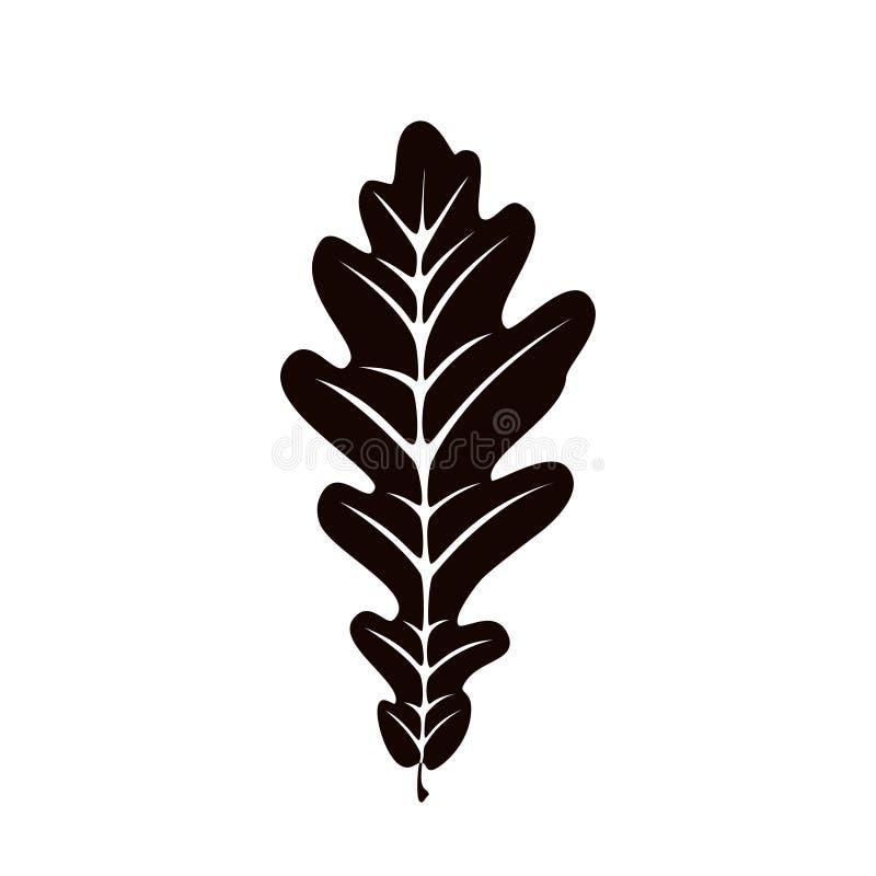 Autumn leaf silhouett on white background royalty free illustration