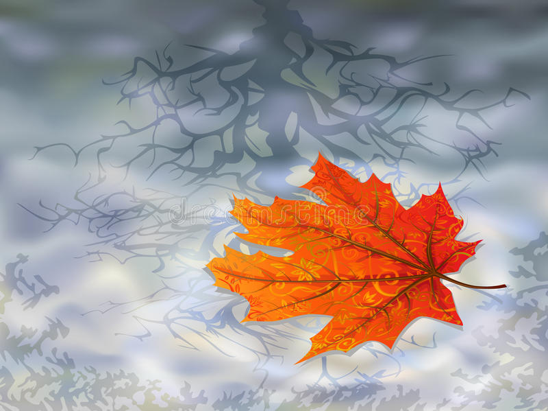 Autumn leaf on water royalty free illustration