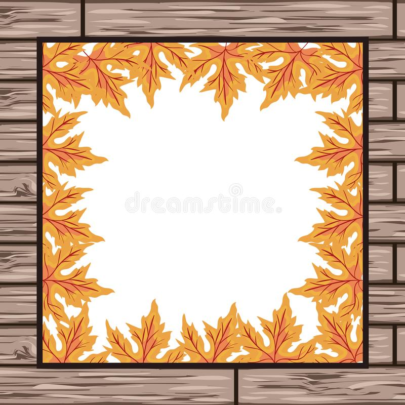 Autumn leafs plant seasonal frame in wooden background. Vector illustration design stock illustration