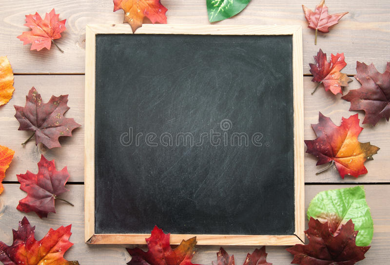 Autumn leaves around a blackboard royalty free stock image