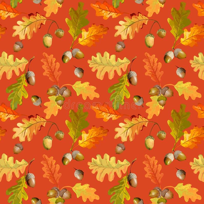 Autumn Leaves Background colorido - teste padrão sem emenda ilustração stock
