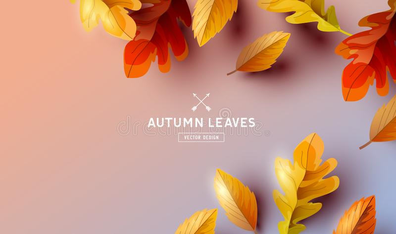 Autumn Leaves Background Elements de queda ilustração stock