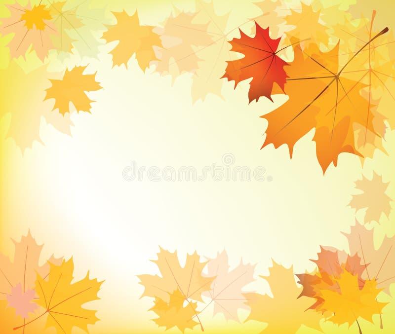 Autumn leaves background frame stock illustration