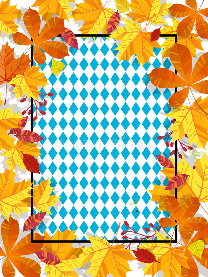 Autumn leaves on a background pattern of blue diamonds. Traditional fall Oktoberfest background. National German autumn stock illustration