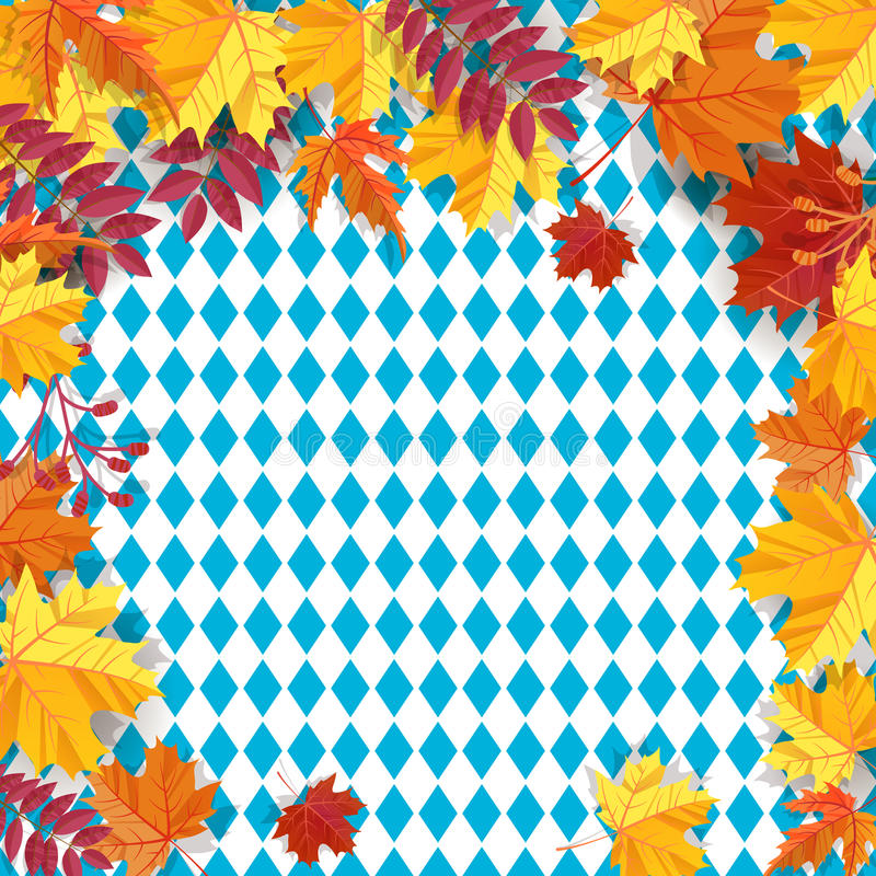 Autumn leaves on a background pattern of blue diamonds. Traditional fall Oktoberfest background. National German autumn royalty free illustration